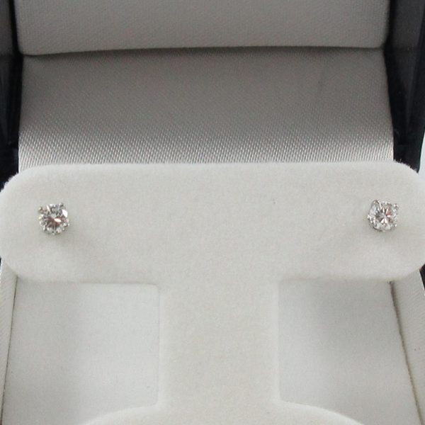 Boucles d'oreilles 2 diamants, 14K blanc, B7002-1