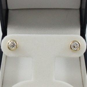 Boucles d'oreilles 2 diamants, 14K jaune, B7008-1