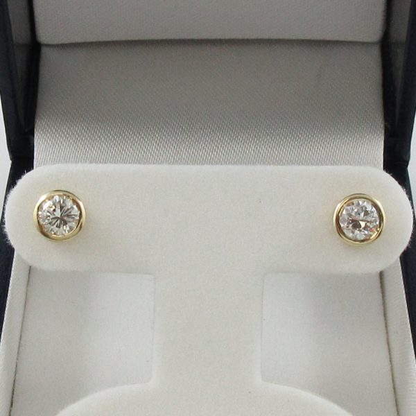 Boucles d'oreilles 2 diamants, 14K jaune, B7008-1
