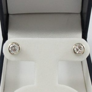 Boucles d'oreilles 2 diamants, 18K blanc, B7009-1