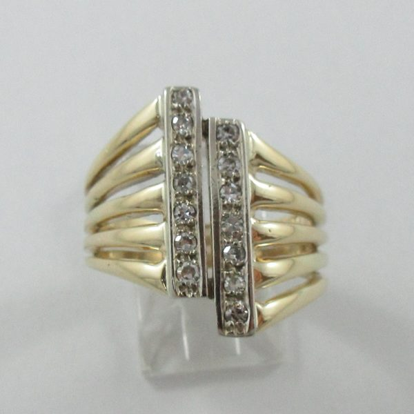 Bague, 14 diamants, 14K, B7011-1