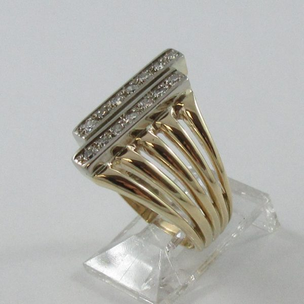 Bague, 14 diamants, 14K, B7011-2