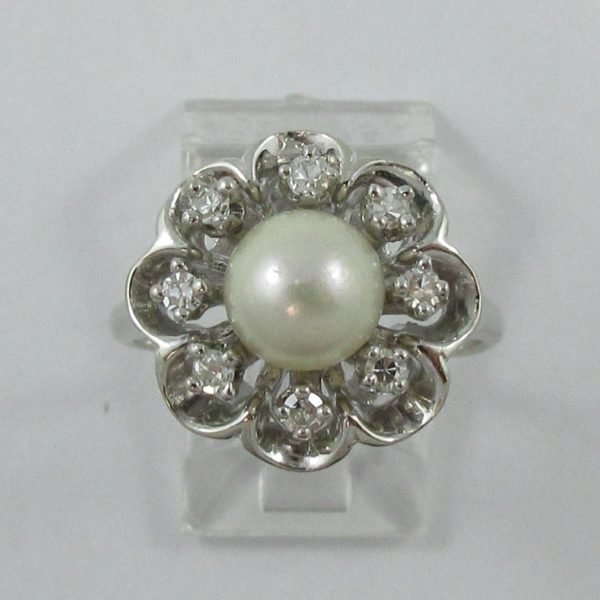 Bague, Akoya et diamants, 14K blanc, B7012-1