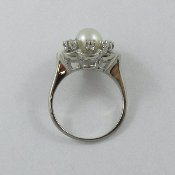Bague, Akoya et diamants, 14K blanc, B7012-3