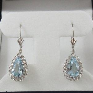 Pendants d'oreilles, Aigue-marines et diamants, 18K et 14K, B7013-1