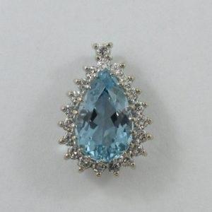 Pendentif, aigue-marine et diamants, 18K blanc, B7014-1