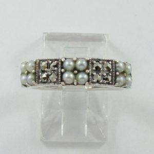 Jonc, perles et marcassites, argent, B7039-1