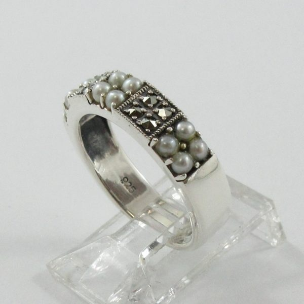 Jonc, perles et marcassites, argent, B7039-2