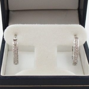 Boucles d'oreilles diamants, 14K blanc, B7042-1