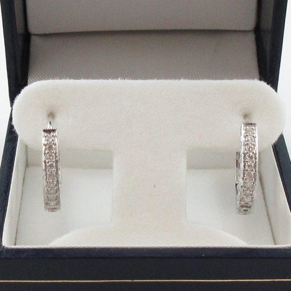 Boucles d'oreilles diamants, 14K blanc, B7042-1