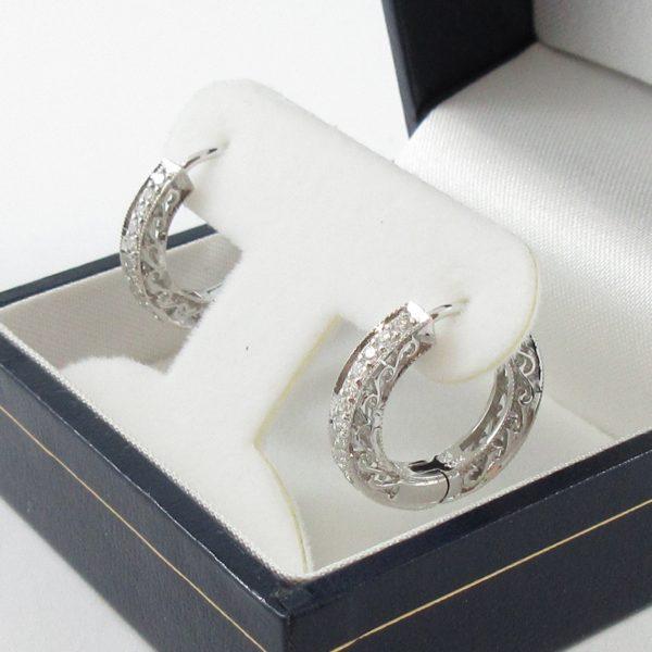Boucles d'oreilles diamants, 14K blanc, B7042-2