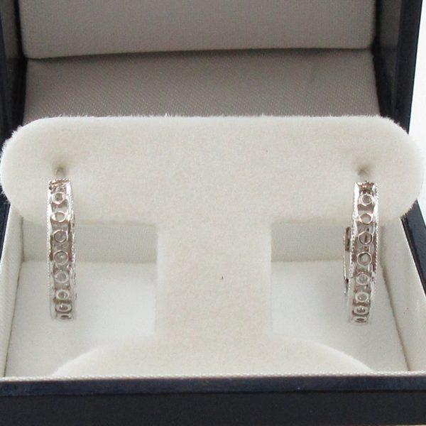 Boucles d'oreilles diamants, 14K blanc, B7042-3