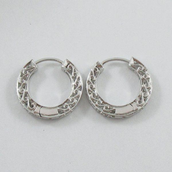 Boucles d'oreilles diamants, 14K blanc, B7042-4