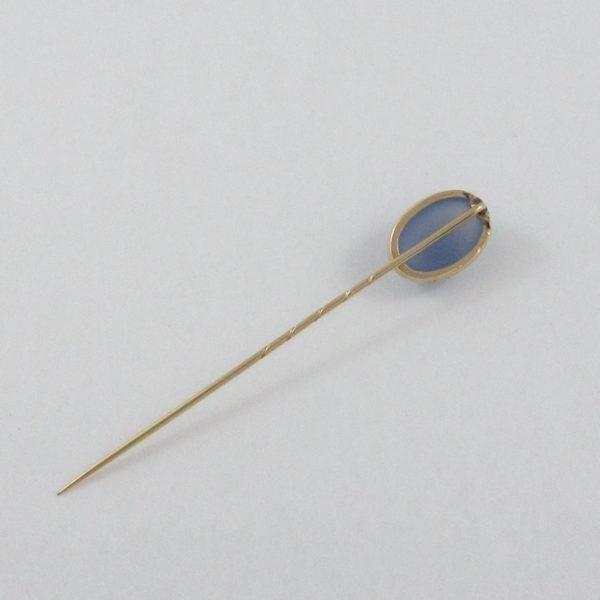 Broche Calcédoine bleue, 14K-18K jaune, B7081-3