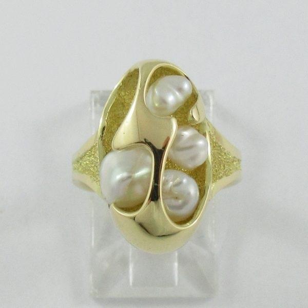 Bague 4 perles d'eau douce, 18K jaune, B7085-1