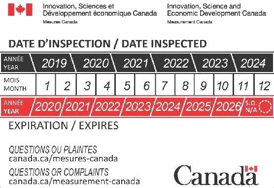Certificat d'inspection pour les balances à métaux précieux.