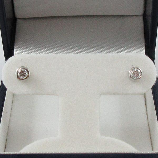 Boucles d'oreilles, 2 diamants, 14K blanc, B6931-1