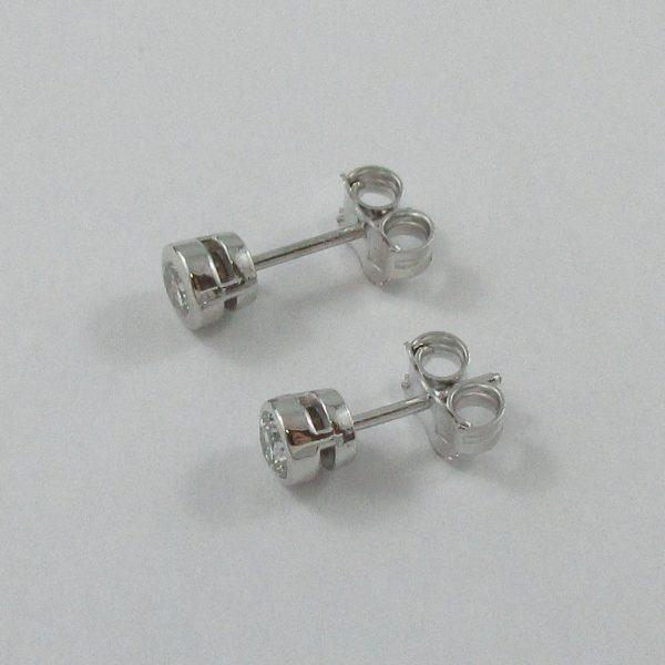 Boucles d'oreilles, 2 diamants, 14K blanc, B6931-2