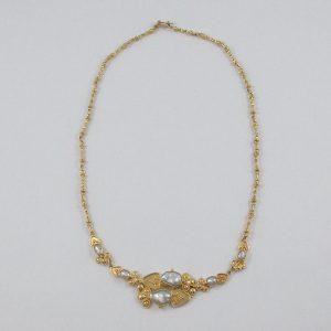 Collier perles d'eau douce, 22K jaune, B7007-1