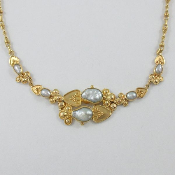 Collier perles d'eau douce, 22K jaune, B7007-2