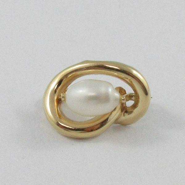 Petite broche, perle d'eau douce, 14K jaune, B7071-1