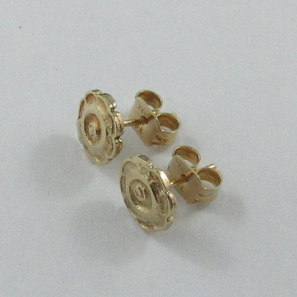 Boucles d'oreilles, fleurs, 10K jaune, B7088-2