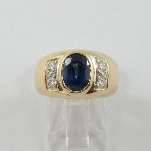 Bague, saphir bleu et diamants, 18K jaune, B7090-1