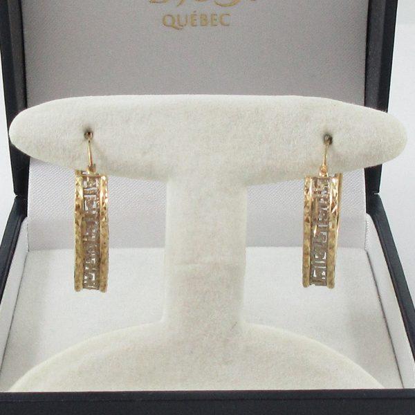 Boucles d'oreilles, motif grec, 10K, B7091-1