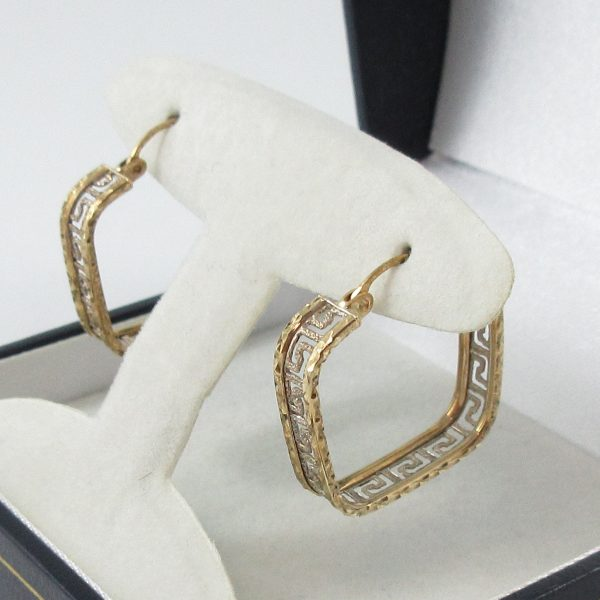 Boucles d'oreilles, motif grec, 10K, B7091-2