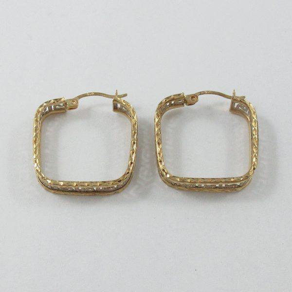 Boucles d'oreilles, motif grec, 10K, B7091-3