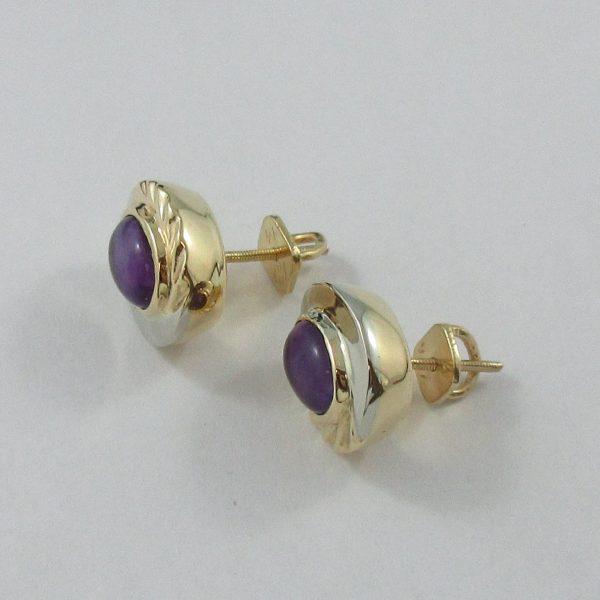 Boucles d'oreilles, améthystes, 18K, B7102-2