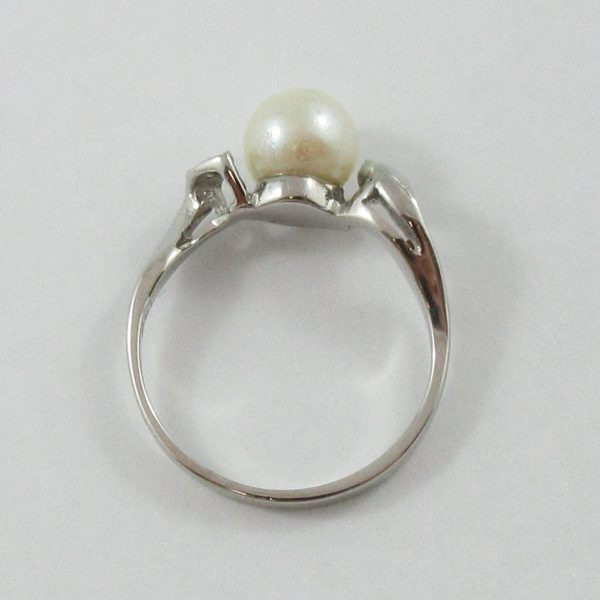 Bague, Akoya et diamants, 14K blanc, B7103-3