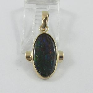 Pendentif, ammolite, 10K jaune, B7107-1