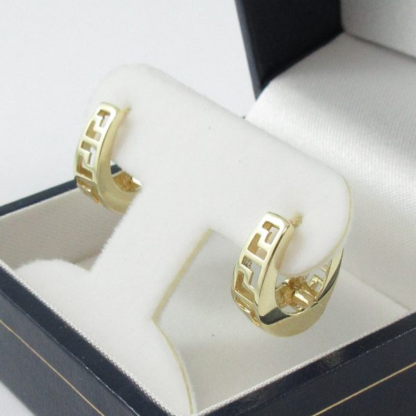 Boucles d'oreilles, motif grec, 10K jaune, B7133-2