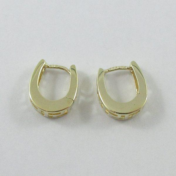Boucles d'oreilles, motif grec, 10K jaune, B7133-3