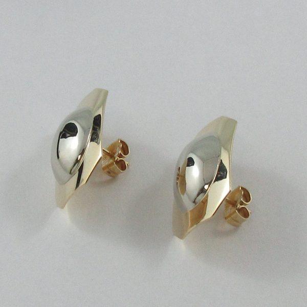 Boucles d'oreilles, 2 tons, 14K, B7144-2