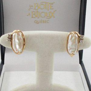 Boucles d'oreilles, perles d'eau douce et diamants, 14K, B7152-1