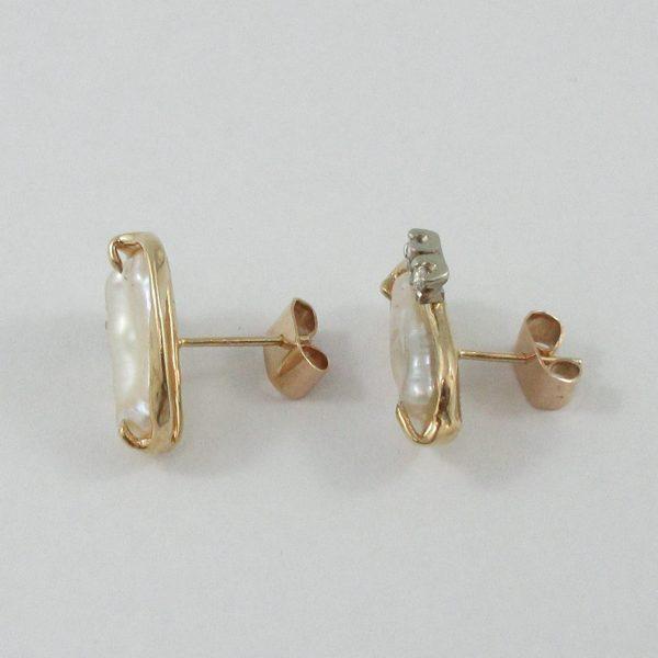 Boucles d'oreilles, perles d'eau douce et diamants, 14K, B7152-2