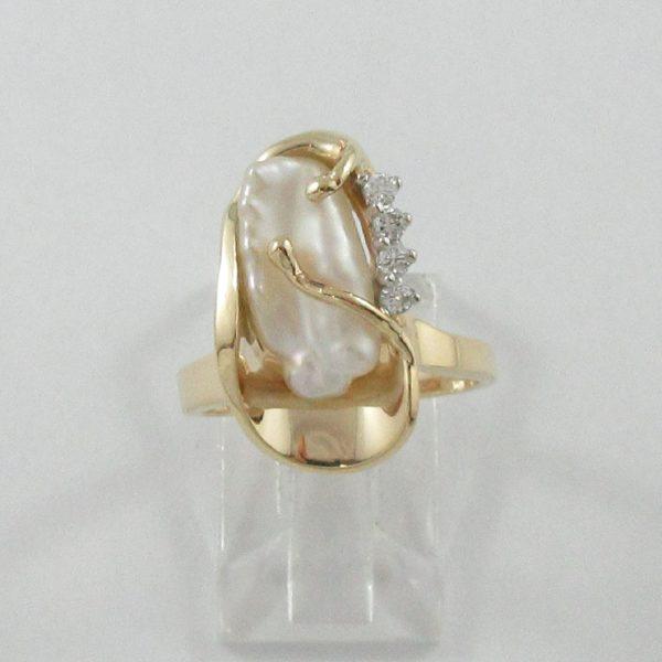 Bague, perle d'eau douce et diamants, 14K, B7153-1