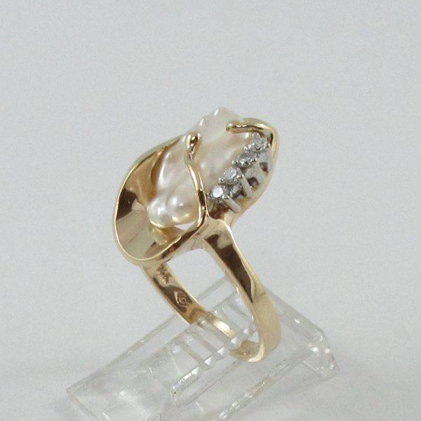 Bague, perle d'eau douce et diamants, 14K, B7153-2