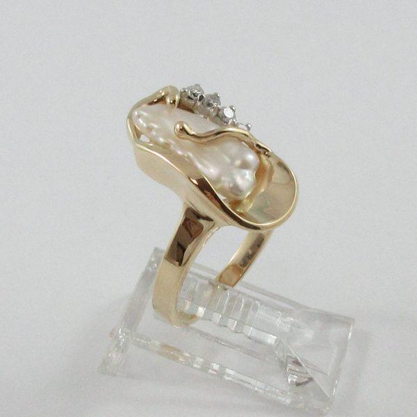 Bague, perle d'eau douce et diamants, 14K, B7153-3