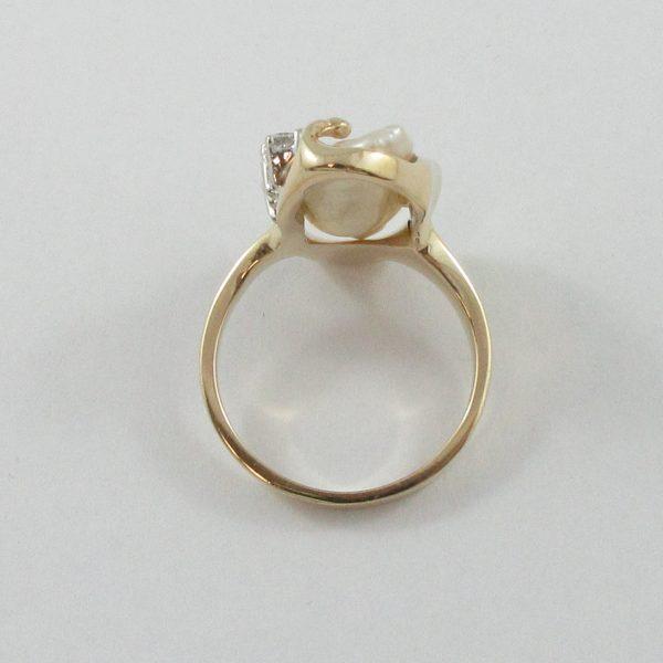 Bague, perle d'eau douce et diamants, 14K, B7153-4