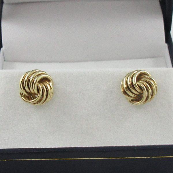 Boucles d'oreilles, motif noeud, 14K jaune, B7155-1