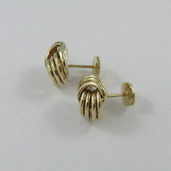 Boucles d'oreilles, motif noeud, 14K jaune, B7155-2
