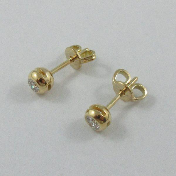 Boucles d'oreilles, 2 diamants, 18K jaune, B7173-2