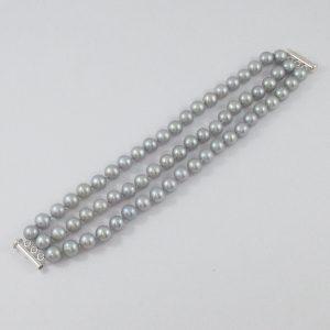 Bracelet, Akoya gris, argent, B7178-1