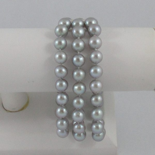 Bracelet, Akoya gris, argent, B7178-3