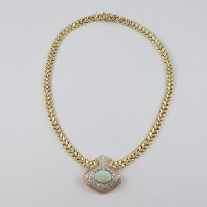 Collier, opale blanche et diamants, 14K, C3144-1