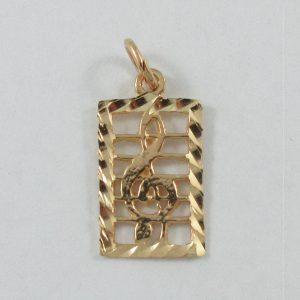 Pendentif, clef de sol, 10K jaune, B7189-1