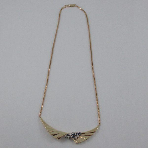 Collier, saphis bleus et diamants, 10K , B7209-1